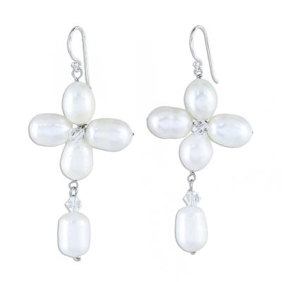 Fair Trade Floral Pearl Earrings