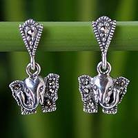 Marcasite dangle earrings, 'Iyara Elephant' - Unique Sterling Silver and Marcasite Dangle Earrings