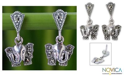 Marcasite dangle earrings, 'Iyara Elephant' - Unique Sterling Silver and Marcasite Dangle Earrings