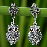 Marcasite and garnet dangle earrings, 'Little Owl' - Marcasite and Garnet Owl Earrings