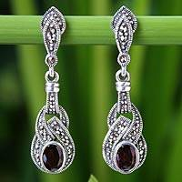 Marcasite and garnet dangle earrings, 'Rose Champagne' - Handcrafted Marcasite and Garnet Dangle Earrings