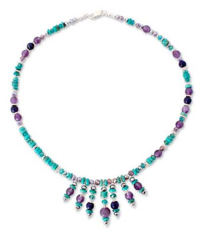 Turquoise and amethyst waterfall necklace, 'Bold Blues'