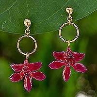 Natural orchid flower earrings, 'Spring Celebration' - Thai Natural Flower Dangle Earrings