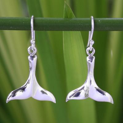 Sterling silver dangle earrings, 'Glistening Whale' - Sterling Silver Dangle Earrings from Thailand
