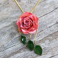Natural rose flower necklace, 'Blossoming Rose' - Natural rose flower necklace