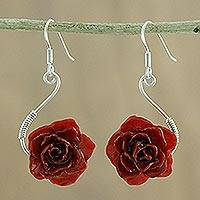 Natural rose flower earrings, 'Scarlet Romance' - Fair Trade Natural Flower Earrings