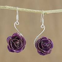 Natural rose flower earrings, 'Violet Romance' - Natural rose flower earrings