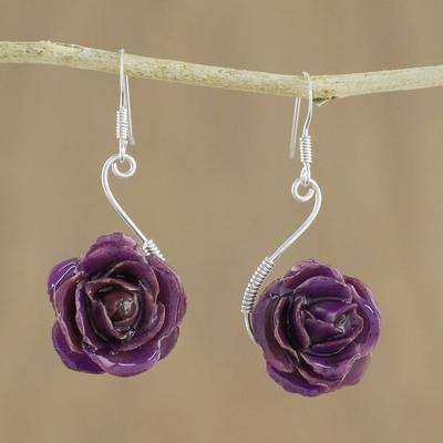 Natural rose flower earrings, 'Violet Romance' - Natural rose flower earrings