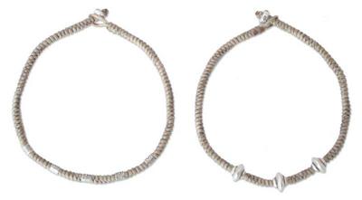 Silver braided bracelets (Pair)