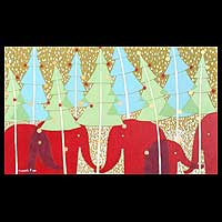 'Happy Christmas Day' - Naif Christmas Painting