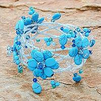 Beaded wrap bracelet, 'Ruffled Garland' - Floral Beaded Turquoise Colored Bracelet
