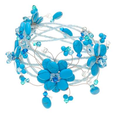 Floral Beaded Turquoise Colored Bracelet