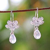 Rose quartz flower earrings, 'Rose Bloom' - Hand Crafted Rose Quartz and Silver Earrings