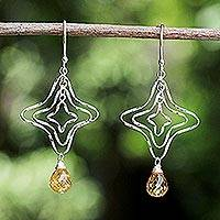 Citrine dangle earrings, 'Starshine' - Citrine Dangle Earrings