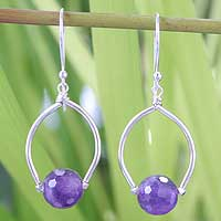 Amethyst dangle earrings, 'Mystic Prosperity' - Silver Amethyst Dangle Earrings