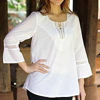 Cotton blouse, 'Endless Cloud' - White Cotton Blouse