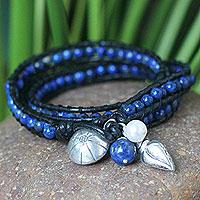 Leather and lapis lazuli wrap bracelet, 'New Tribal' - Leather and Lapis Lazuli Wrap Bracelet