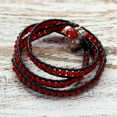 Leather and carnelian wrap bracelet, 'New Tribal' - Leather and Carnelian Beaded Wrap Bracelet