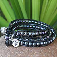 Leather and pearl wrap bracelet, 'New Midnight Tribal' (medium) - Unique Leather and Pearl Wrap Bracelet (Medium)
