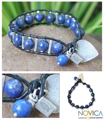 Leather and lapis lazuli heart bracelet, Loves Universe