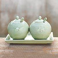Celadon ceramic condiment set, 'Happy Elephant' (pair) - Celadon ceramic condiment set (Pair)