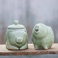 Celadon ceramic sugar bowl and creamer, 'Piggy Cheer' (pair)