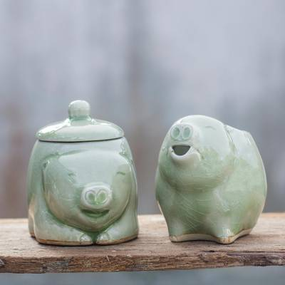 Celadon ceramic sugar bowl and creamer, 'Piggy Cheer' (pair) - Unique Celadon Ceramic Sugar Bowl and Creamer (Pair)