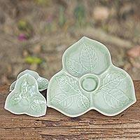Celadon ceramic plates, 'Living Leaf' (set of 3) - Unique Celadon Ceramic Plates (Set of 3)