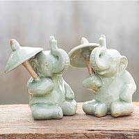 Celadon ceramic figurines, 'Chiang Mai Elephants' (pair) - Hand Made Celadon Ceramic Figurines (Pair)