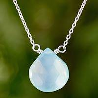 Blue chalcedony pendant necklace, 'Mystical Petal' - Blue Chalcedony Pendant Necklace