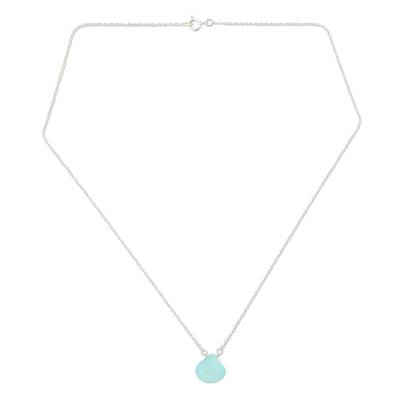 Blue chalcedony pendant necklace, 'Mystical Petal' - Blue Chalcedony Pendant Necklace