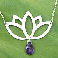 Amethyst flower necklace, 'Buddha Lotus' - Sterling Silver and Amethyst Necklace from Thailand