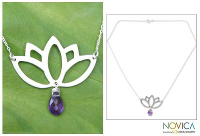 Amethyst flower necklace, 'Buddha Lotus' - Artisan Crafted Silver and Amethyst Pendant Necklace