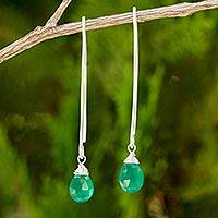 Chalcedony dangle earrings, 'Sublime' - Unique Chalcedony Silver Earrings