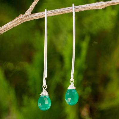 Chalcedony dangle earrings, 'Sublime' - Unique Chalcedony Silver Earrings
