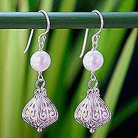 Pearl dangle earrings, 'Graceful' - Handcrafted Sterling Silver and Pearl Earrings
