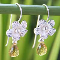 Citrine flower earrings, 'Golden Bloom' - Floral Sterling Silver and Citrine Earrings