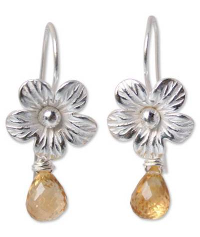 Floral Sterling Silver and Citrine Earrings