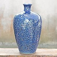 Celadon ceramic vase, 'Azure Lace'