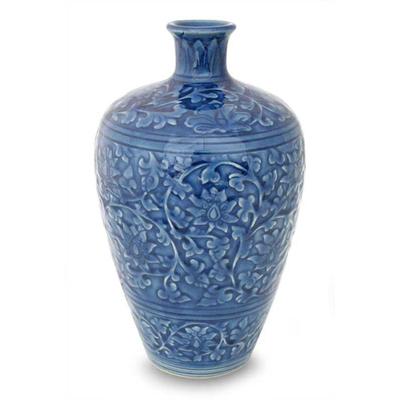 Celadon ceramic vase, 'Azure Lace' - Celadon Ceramic Vase from Thailand