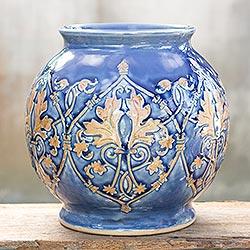 Celadon ceramic vase, 'Thai Sapphire'