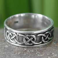 Men's sterling silver band ring, 'Love's Geometry' - Hand Crafted Men's Sterling Silver Band Ring