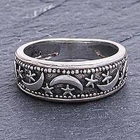 Sterling silver band ring, 'Moon Magic'
