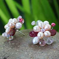 Pearl flower earrings, 'Rose Blossom' - Pearl flower earrings