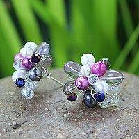 Pearl and amethyst flower earrings, 'Fuchsia Blossom' - Floral Multigem Button Earrings