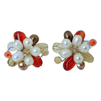 Thai Carnelian And Pearl Earrings