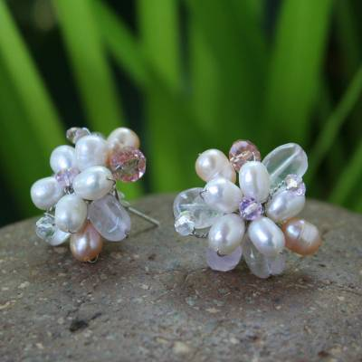 Pearl flower earrings, 'Pink Blossom' - Pearl flower earrings
