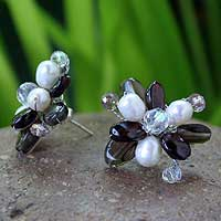Pearl and garnet flower earrings, 'Night Blossom' - Pearl and garnet flower earrings