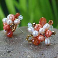 Pearl and carnelian flower earrings, 'Dawn Blossom' - Pearl and carnelian flower earrings