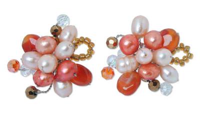 Pearl and carnelian flower earrings